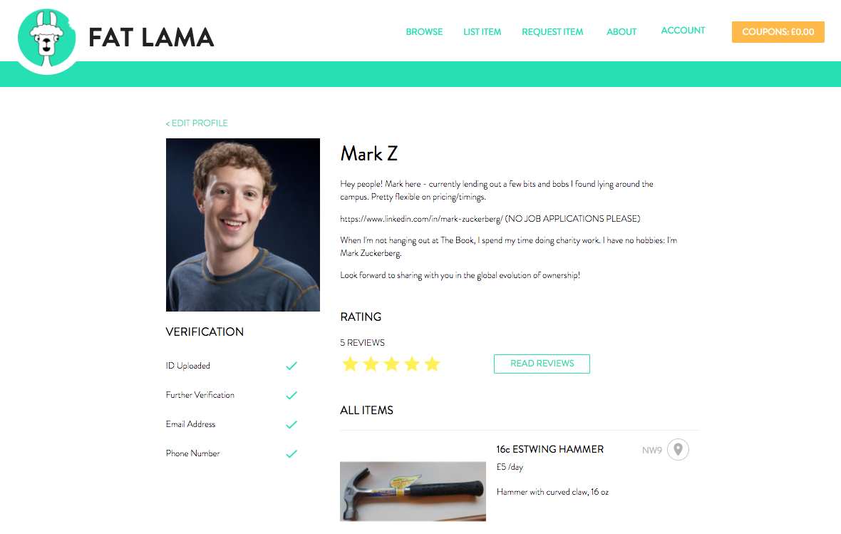 Your All New Fat Lama Profile Page